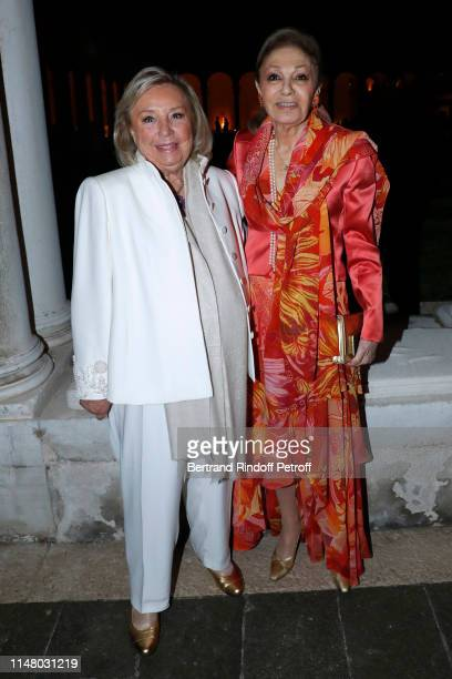 Maryvonne Pinault and Farah Pahlavi attend the 58th International Art Biennale in Venice Dinner Gala at 'Fondazione Cini Isola Di San Giorgio' on May...