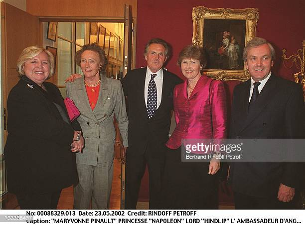 Maryvonne Pinault princess Napoleon Lord Hindlip the Ambassador of England Sir Holmes and his wife Lady Holmes party at Christie's collection of the...