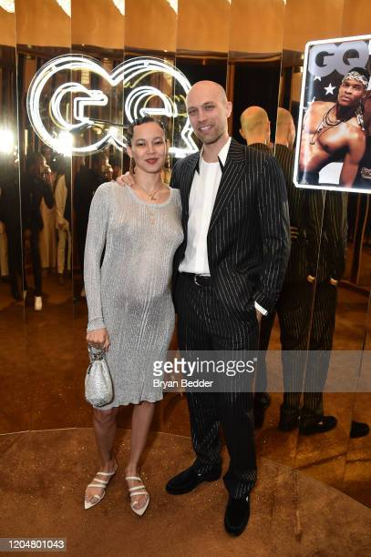 Marz Lovejoy and Simon Rasmussen attend the GQ March Cover Party at The Standard Highline on March 01 2020 in New York City