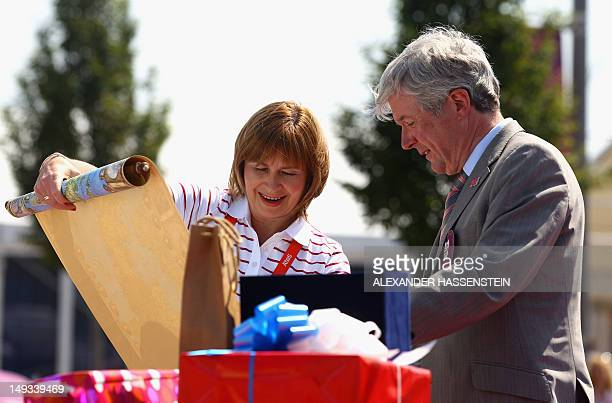 Marzenna Koszewska , Chef de Mission of Poland is welcomed in the Olympic Village ahead of the London 2012 Olympic Games at the Olympic Park on July...