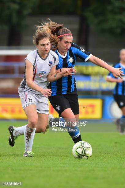 Marzia Visani of Orobica Women competes for the ball with Gloria Marinelli of FC Internazionale Women during the Women Serie A match between FC...