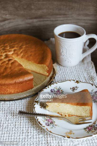 marzipan cake slice on plate and coffee cup - marzipan stock pictures, royalty-free photos & images