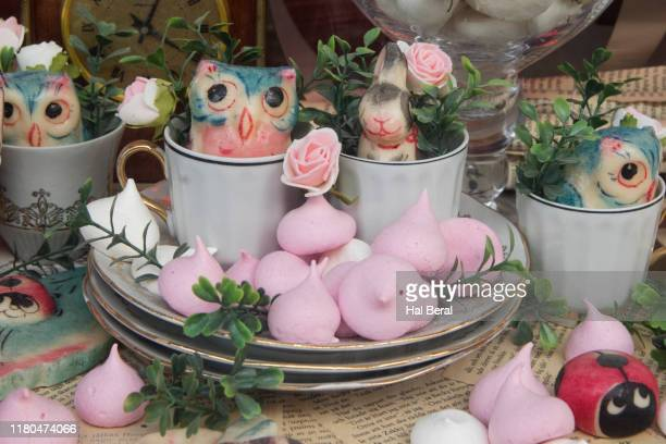 marzipan candy displayed in store window - marzipan stock pictures, royalty-free photos & images