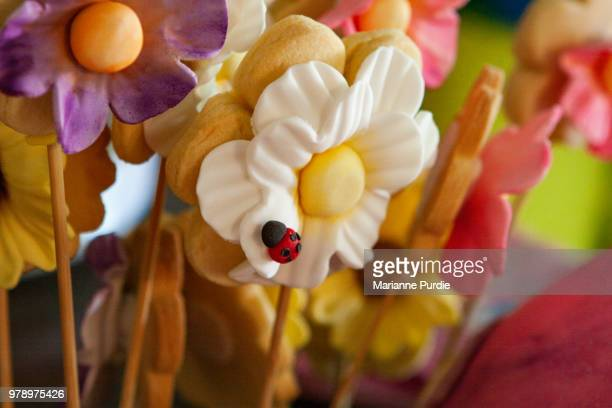 marzipan decorations for cakes and biscuits - marzipan stock pictures, royalty-free photos & images