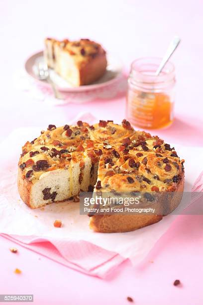 Marzipan Roll Cake with Raisins, Pecans and Dried Apricots