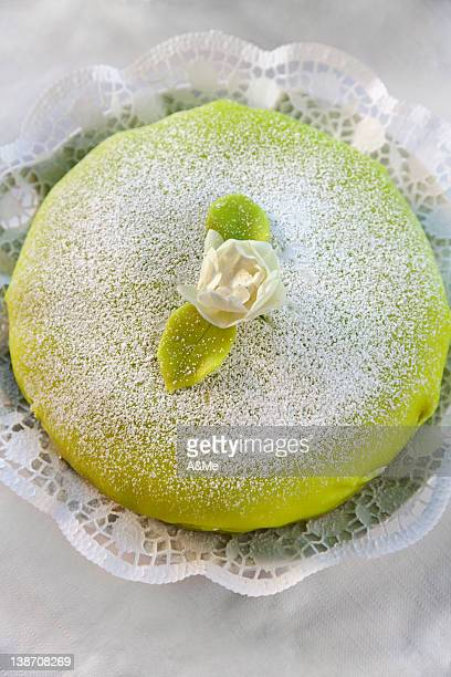marzipan-covered gateau, high angle view - marzipan stock pictures, royalty-free photos & images