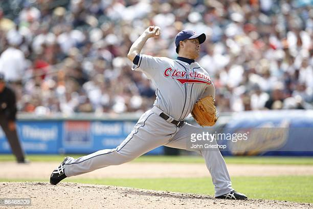 Masa Kobayashi of the Cleveland Indians delivers a pitch during the game between the Cleveland Indians and the Detroit Tigers in Detroit Michigan at...