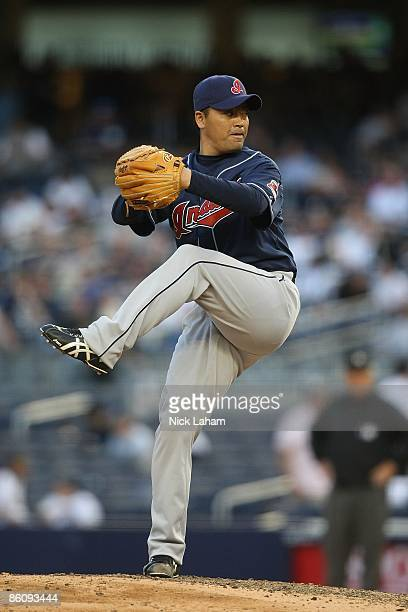Masa Kobayashi of the Cleveland Indians pitches against the New York Yankees at Yankee Stadium on April 18 2009 in the Bronx borough of New York City
