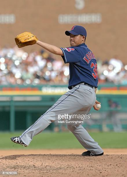 Masa Kobayashi of the Cleveland Indians pitches during the game against the Detroit Tigers at Comerica Park in Detroit Michigan on June 7 2008 The...