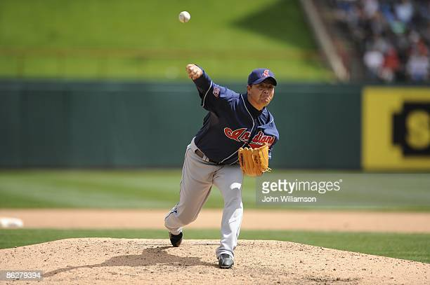 Masa Kobayashi of the Cleveland Indians pitches during the game against the Texas Rangers at Rangers Ballpark in Arlington in Arlington Texas on...
