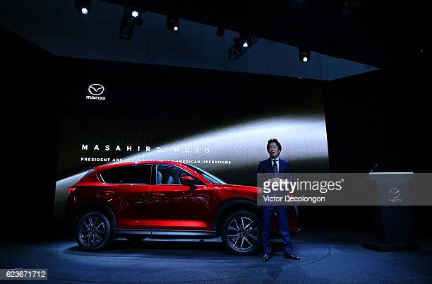 Masa Moro President and CEO Mazda North American Operations speaks onstage at the Mazda press conference event at the LA Auto Show on November 16...