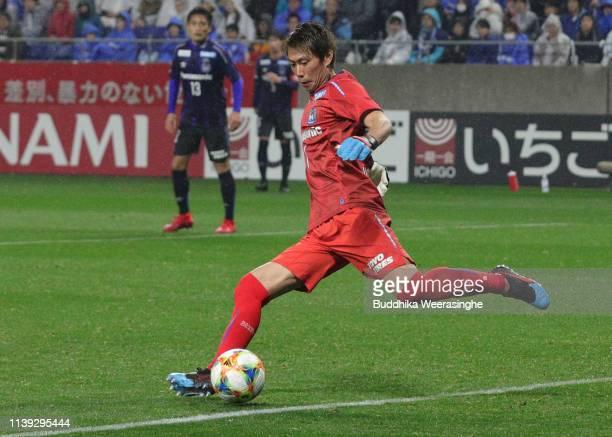 Masaaki Higashiguchi of Gamba Osaka in action during the JLeague J1 match between Gamba Osaka and Vissel Kobe at Panasonic Stadium Suita on March 30...