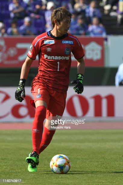 Masaaki Higashiguchi of Gamba Osaka in action during the JLeague J1 match between Sanfrecce Hiroshima and Gamba Osaka at Edion Stadium Hiroshima on...