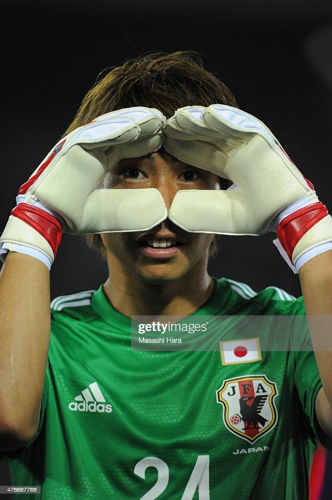 Masaaki Higashiguchi #24 of Japan looks on after the international friendly match between Japan and Iraq at Nissan Stadium on June 11, 2015 in Yokohama, Japan.