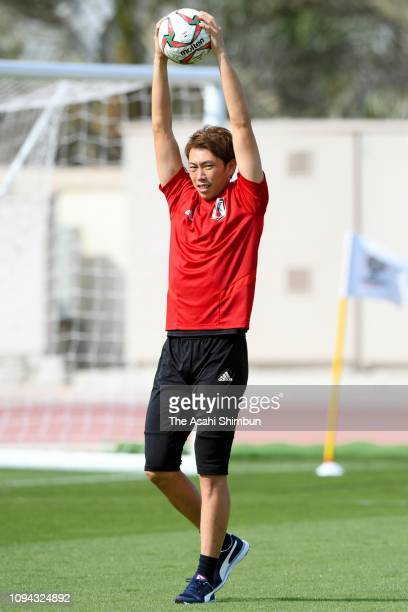 Masaaki HIgashiguchi of Japan warms up during a Japan training session on January 14 2019 in Abu Dhabi United Arab Emirates