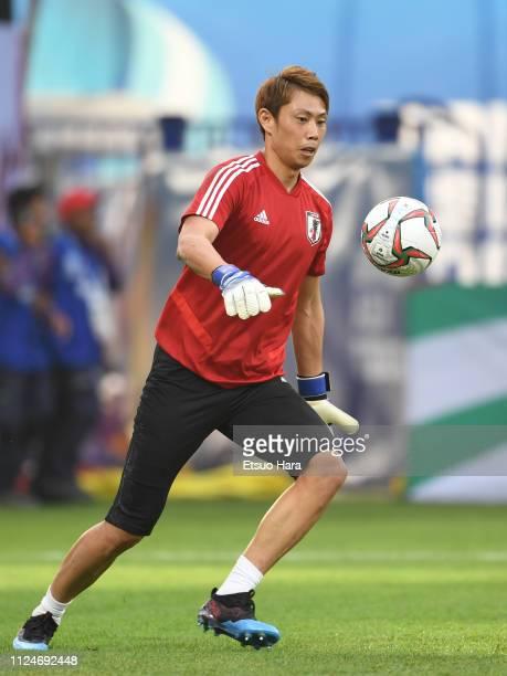 Masaaki Higashiguchi of Japan warms up prior to the AFC Asian Cup quarter final match between Vietnam and Japan at Al Maktoum Stadium on January 24...