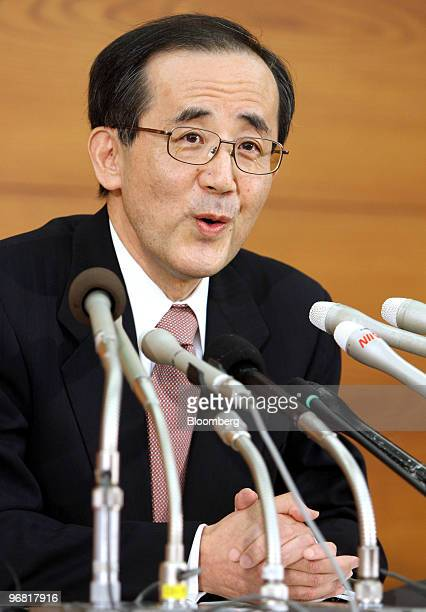 Masaaki Shirakawa governor of the Bank of Japan speaks during a news conference in Tokyo Japan on Thursday Feb 18 2010 The Bank of Japan refrained...