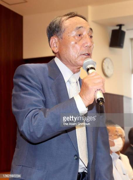 Masaaki Takano, representative of plaintiffs speaks during a press conference following the ruling by the Hiroshima District Court on July 29, 2020...