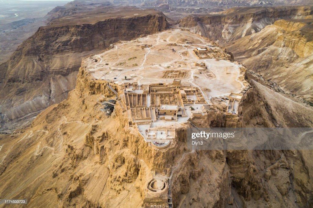 Masada FestungGebiet Südlicher Bezirk von Israel Totes Meer Bereich südlichen Bezirk von Israel. Alte jüdische Festung des Römischen Reiches auf einem Felsen in der judäischen Wüste, Blick aus der Luft : Stock-Foto