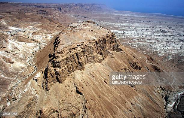 An aerial photo of the ancient hilltop fortress of Masada in Judean desert 20 April 2007 A new museum will be inaugurated 03 May 2007 and will house...