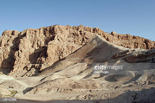 Masada, the last fortress in Judea to be conquered by the Romans in 73 AD. Roman Dyke or ramp, built in order to overcome the cliff and raise the tool that would destroy the wall so the Romans could go into the fortress.