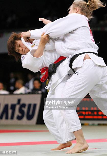 Masae Ueno of Japan and Ronda Rousey of the United States compete in the Women's 70kg final during day two of the Judo Kano Jigoro Cup at Tokyo...