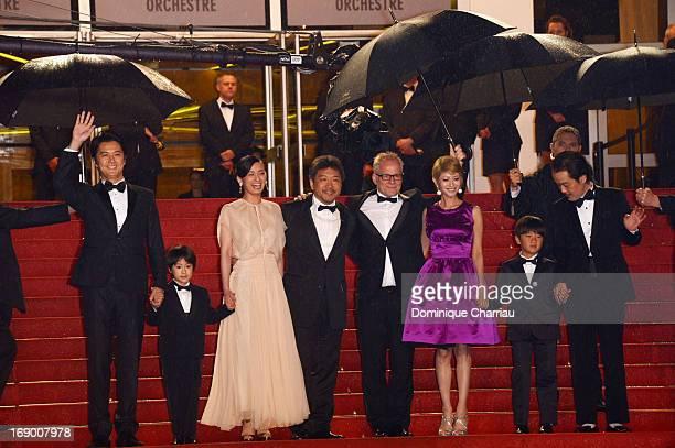 Masaharu Fukuyama Keita Ninomiya Machiko Ono Hirokazu Koreeda Yoko Maki Thierry Fremaux Shogen Whang and Lily Franky attend the Premiere of 'Soshite...