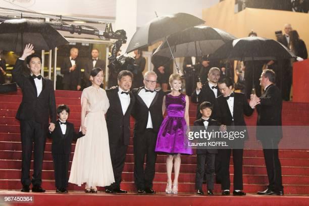Masaharu Fukuyama Keita Ninomiya Machiko Ono Hirokazu Koreeda Yoko Maki Shogen Whang and Lily Franky attend the Premiere of 'Soshite Chichi Ni Naru'...