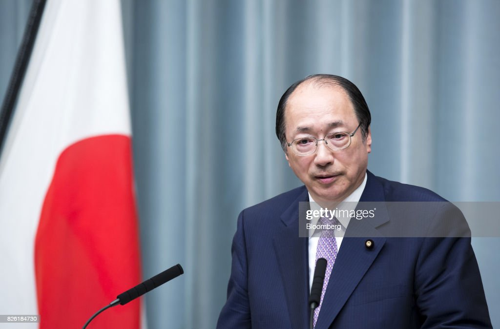 Masaharu Nakagawa, newly-appointed environment minister of Japan, speaks during a news conference at the Prime Minister's official residence in Tokyo, Japan, on Thursday, Aug. 3, 2017. Japanese Prime Minister Shinzo Abe reshuffled his ministers and party officials after a slump in popularity and a humiliating local election defeat. Photographer: Tomohiro Ohsumi/Bloomberg via Getty Images