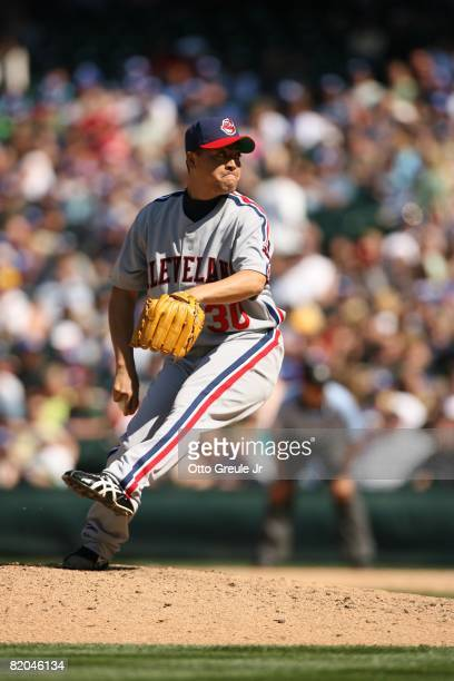 Masahide Kobayashi of the Cleveland Indians pitches against the Seattle Mariners on July 19, 2008 at Safeco Field in Seattle, Washington.