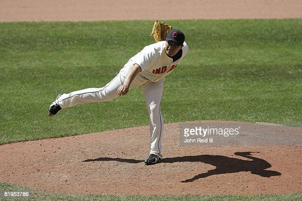 Masahide Kobayashi of the Cleveland Indians pitches during the game against the Tampa Bay Rays on July 13 2008 at Progressive Field in Cleveland Ohio...