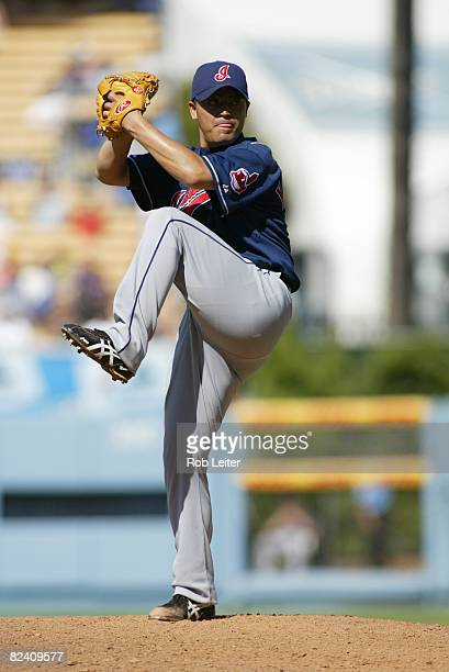 Masahide Kobayashi of the Cleveland Indians pitches during the game against the Los Angeles Dodgers at Dodger Stadium in Los Angeles California on...
