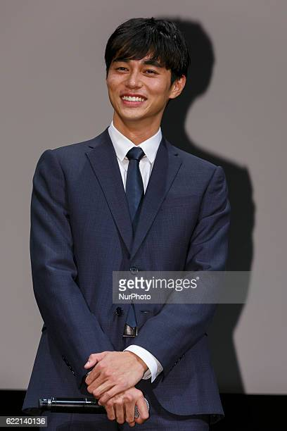 Masahiro Higashide poses during an stage greeting of the film called quotSatoshi A Move for Tomorrowquot during the Tokyo International Film Festival...