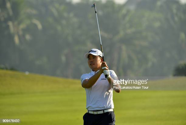 Masahiro Kawamura of Japan plays a shot during the Pro am event ahead of the Leopalace21 Myanmar Open at Pun Hlaing Golf Club on January 24 2018 in...