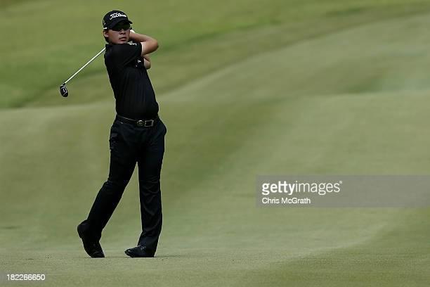 Masahiro Kawamura of Japan plays his second shot on the sixth hole during day four of the Panasonic Japan Open at Ibaraki Golf Club on September 29...