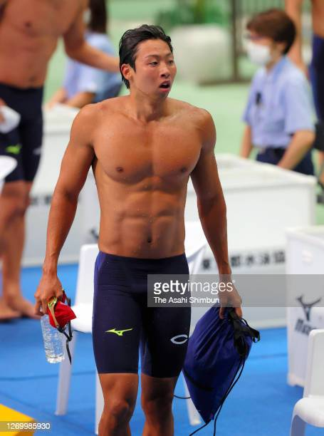 Masahiro Kawane reacts after competing in the Men's 100m Freestyle on day three of the Tokyo Special Swimming Championships at the Tokyo Tatsumi...