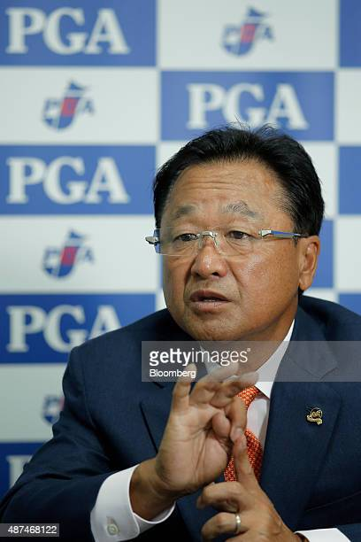Masahiro Kuramoto chairman of the Professional Golfers' Association of Japan speaks during an interview at the association's office in Tokyo Japan on...