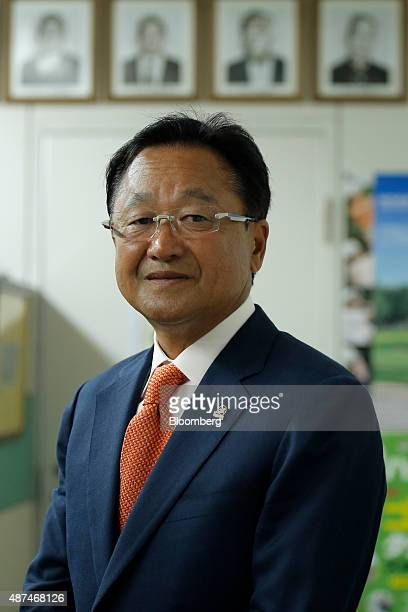 Masahiro Kuramoto chairman of the Professional Golfers' Association of Japan poses for a photograph at the association's office in Tokyo Japan on...