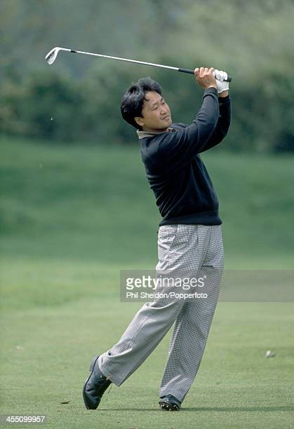 Masahiro Kuramoto of Japan in action during the Grand Prix of Europe Golf Tournament held at the St Pierre Golf and Country Club Wales circa May 1988...