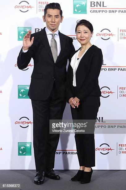 Masahiro Motoki and Miwa Nishikawa attend a photocall for 'Nagai Iiwake The Long Excuse' during the 11th Rome Film Festival at Auditorium Parco Della...