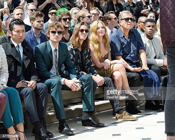 Masahiro Motoki Josh Whitehouse Oscar Tuttiett Clara Paget Mario Testino John Boyega sit in the front row at Burberry Menswear Spring/Summer 2016...
