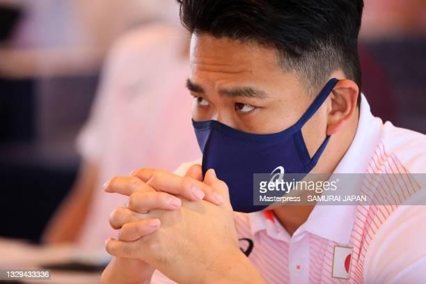 Masahiro Tanaka of Samurai Japan attends the Samurai Japan team meeting on July 19, 2021 in Sendai, Miyagi, Japan.