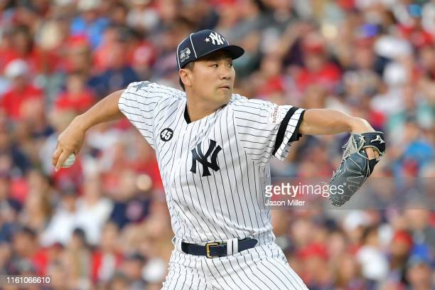 Masahiro Tanaka of the New York Yankees and the American League pitches during the 2019 MLB AllStar Game presented by Mastercard at Progressive Field...