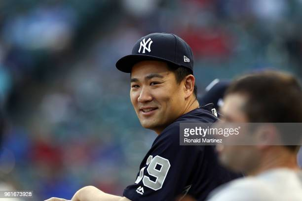 Masahiro Tanaka of the New York Yankees at Globe Life Park in Arlington on May 22 2018 in Arlington Texas