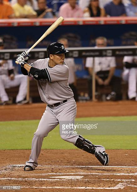 Masahiro Tanaka of the New York Yankees bats during the third inning of the game against the Miami Marlins at Marlins Park on June 15 2015 in Miami...