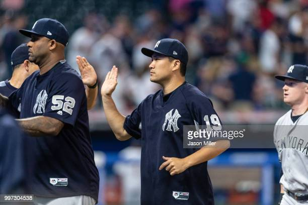 Masahiro Tanaka of the New York Yankees celebrates after the Yankees defeated the Cleveland Indians at Progressive Field on July 12 2018 in Cleveland...