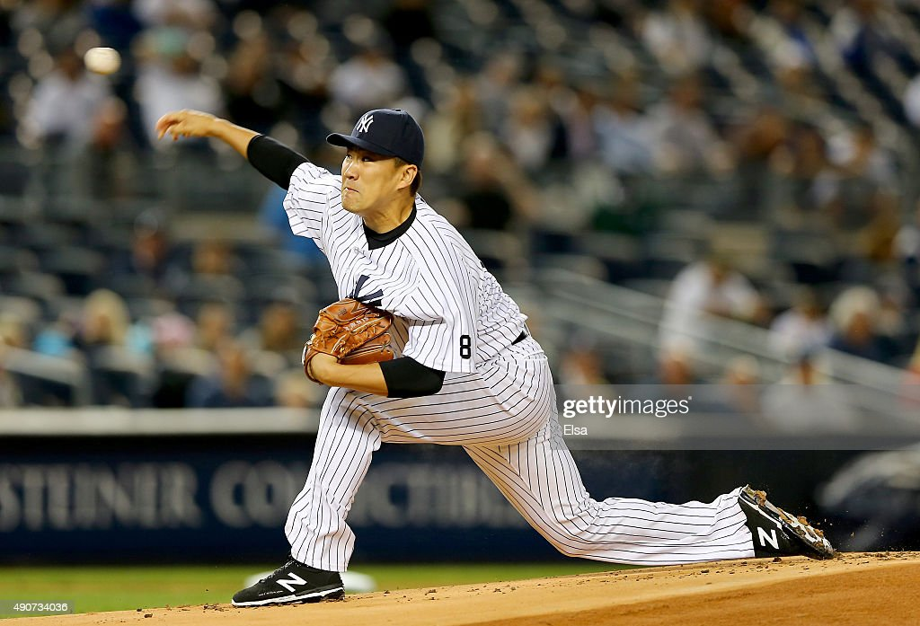 Masahiro Tanaka #19 of the New York Yankees delivers a pitch against the Boston Red Sox in the first inning on September 30, 2015 at Yankee Stadium in the Bronx borough of New York City.