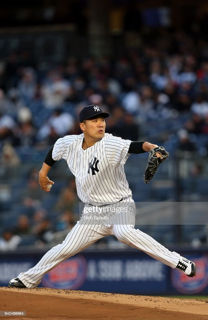 Masahiro Tanaka #19 of the New York Yankees delivers a pitch against the Baltimore Orioles during the second inning of a game at Yankee Stadium on April 5, 2018 in the Bronx borough of New York City.