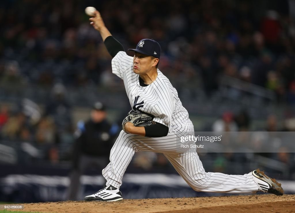 Masahiro Tanaka #19 of the New York Yankees delivers a pitch against the Baltimore Orioles during the third inning of a game at Yankee Stadium on April 5, 2018 in the Bronx borough of New York City.