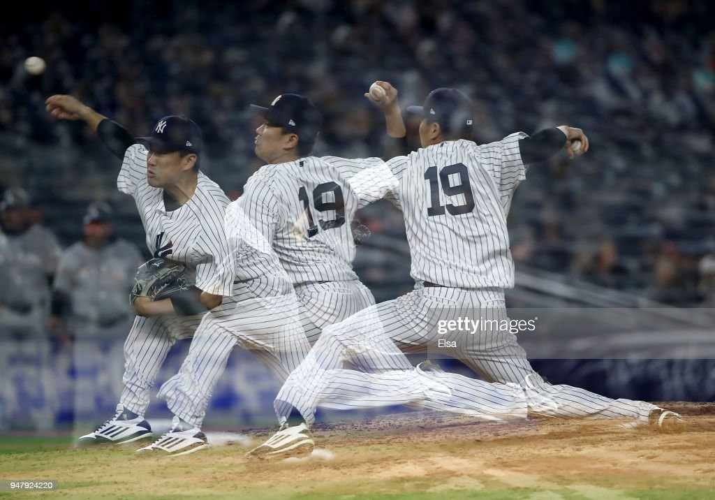 Masahiro Tanaka #19 of the New York Yankees delivers a pitch in the fifth inning against the Miami Marlins at Yankee Stadium on April 17, 2018 in the Bronx borough of New York City.
